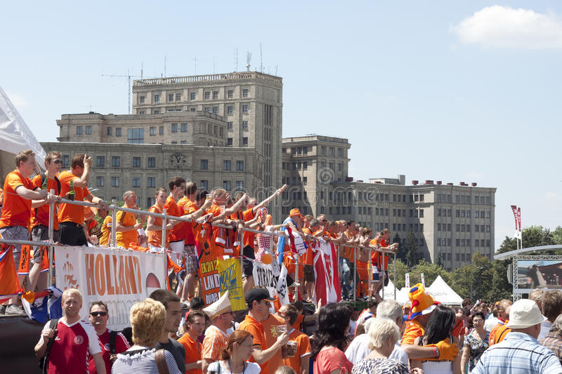 Download Dutch Fans Relaxing And Rejoice Editorial Stock Image - Image: 25212349