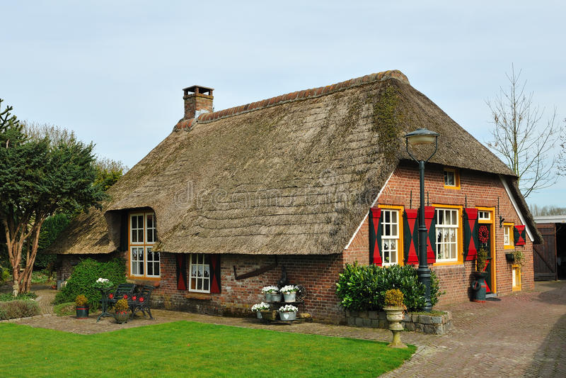 Dutch farmhouse. Dutch farm house whit an thatched roof stock photo