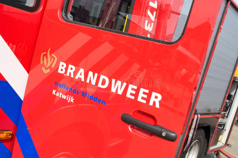 Dutch fire engine. KATWIJK AAN ZEE, THE NETHERLANDS - June 28, 2016: Dutch fire engine on display at the tourist market royalty free stock images