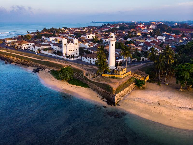 Dutch Fort in Galle city of Sri Lanka aerial. View lighthouse morning sunrise building day coast tropical sky fortress travel tower landmark old sea tourism royalty free stock photo