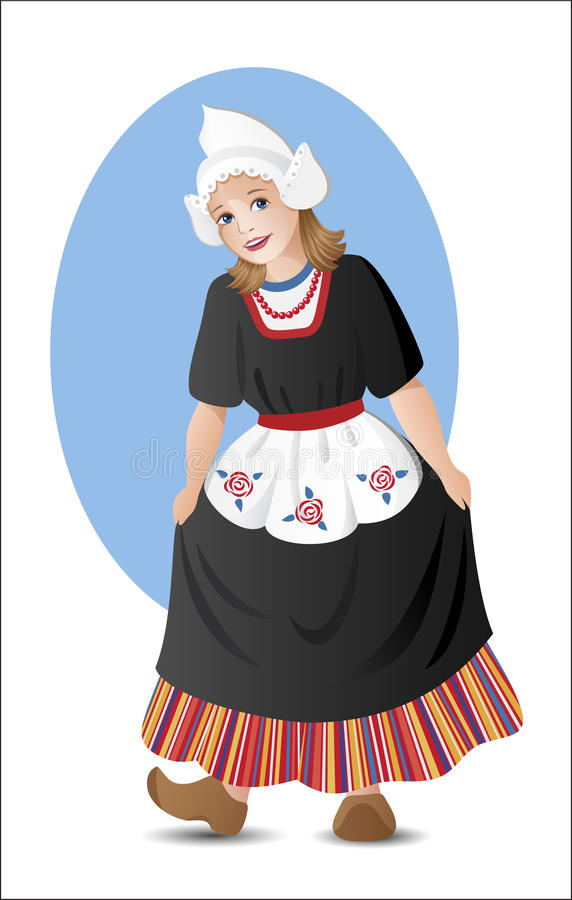 Dutch girl in national costume. Young lady in traditional dutch folk costume stock illustration
