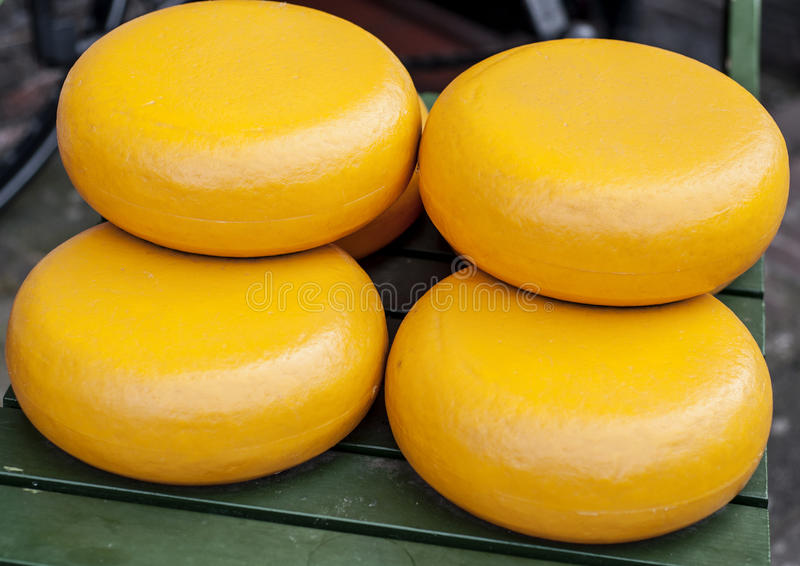 Dutch Gouda cheese. Wheels in a cheese market royalty free stock image