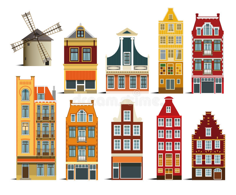 Dutch houses. Vector illustration of simple dutch houses collection vector illustration