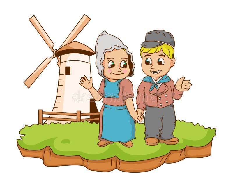 Dutch kids illustration with gradients stock photo