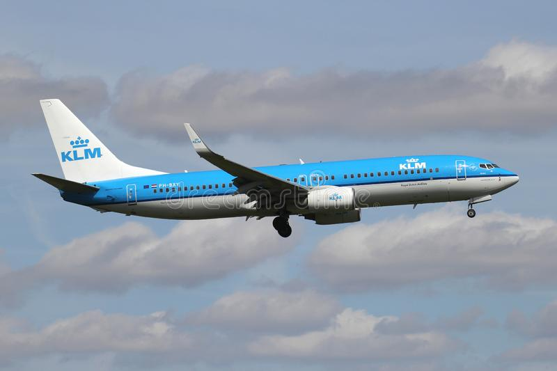 KLM Boeing 737-800 royalty free stock images