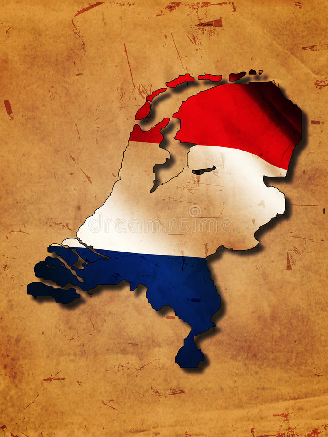 Dutch map with flag stock illustration