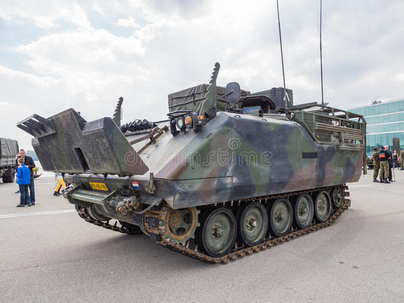 Dutch military tank. ALMERE, NETHERLANDS - 23 APRIL 2014: Dutch military armored fighting vehicle on display during the National Army Day in Almere can be stock photography