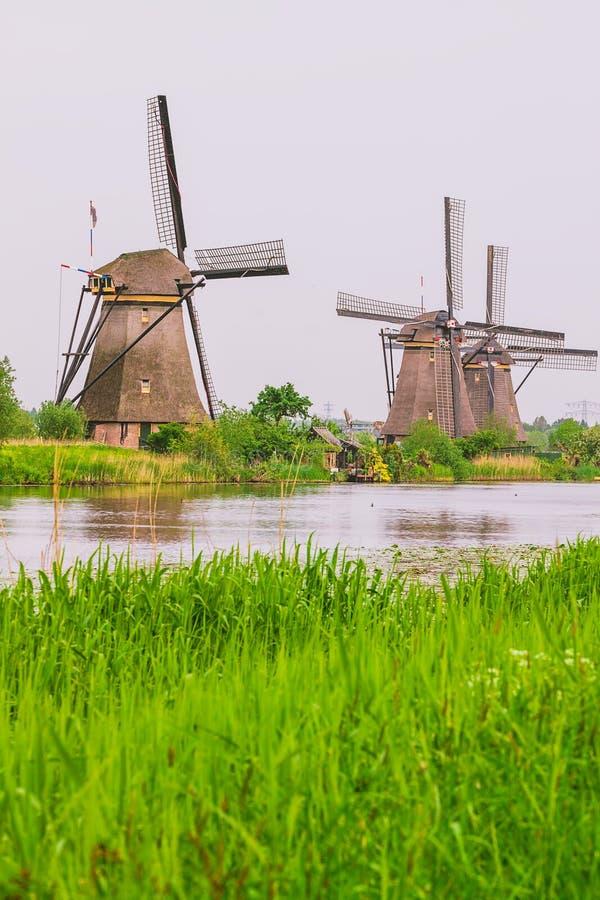 Dutch mills in Kinderdijk, Netherlands. View to Dutch mills in Kinderdijk, Netherlands royalty free stock image
