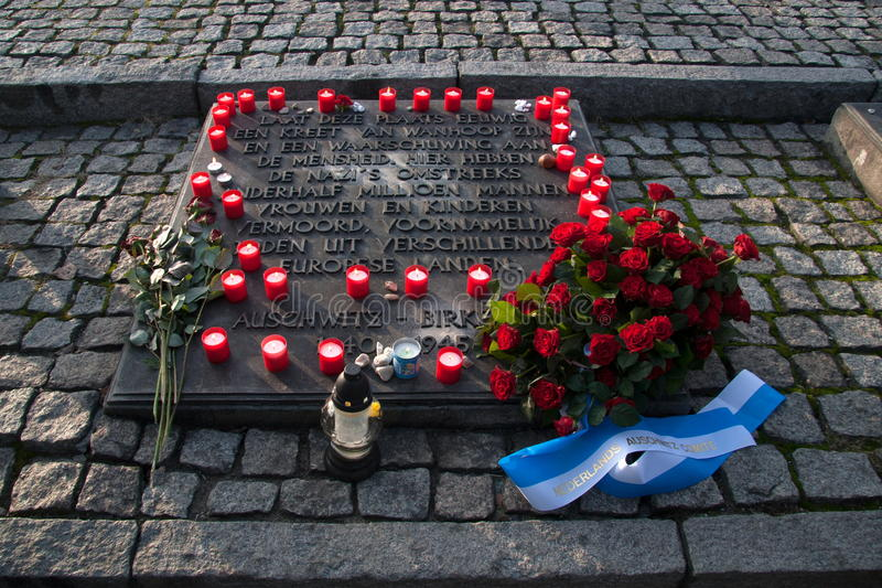 Dutch monument that commemorates the slaughter sacrifices of the former concentration and extermination camp Auschwitz-Birkenau in stock image