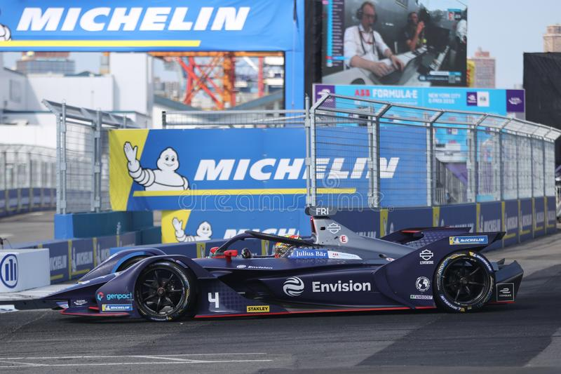 Dutch motor racing driver and round 13 race winner Robin Frijns of Envision Virgin Racing Team driving his Formula E car 4 stock photography