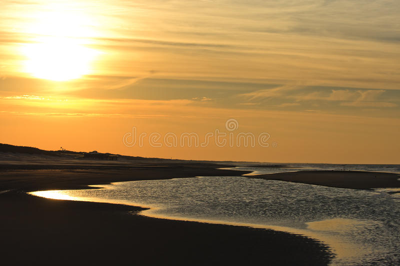 Dutch North Sea at sunset, Ameland stock images
