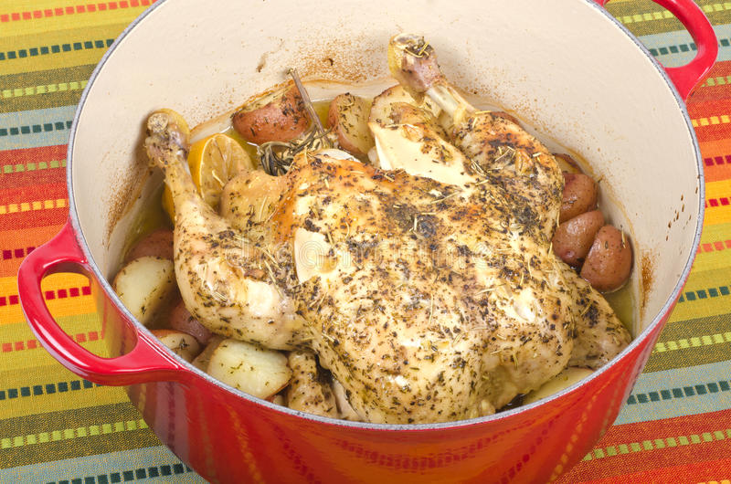 Dutch Oven Roasted Chicken with Potatoes #2 stock photography