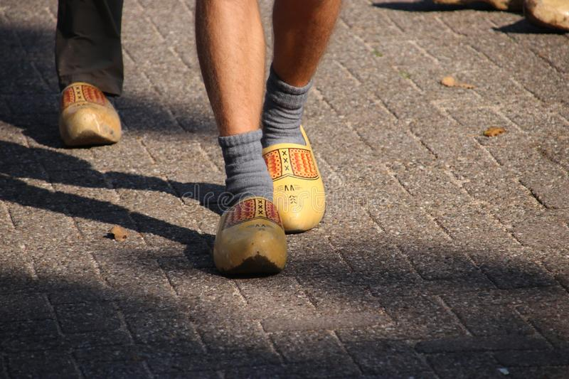 Dutch people walking on clogs during the clog walk in town of Zevenhuizen, The Netherlands stock images