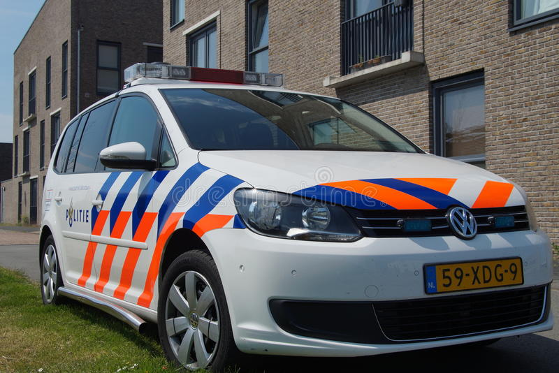 Dutch Police Car (Volkswagen Touran) - Nationale politie. Almere Poort, Flevoland, The Netherlands - June 5, 2015: Dutch National Police Car , Volkswagen Touran stock images