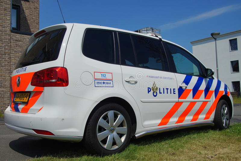 Dutch Police Car (Volkswagen Touran) - Nationale politie. Almere Poort, Flevoland, The Netherlands - June 5, 2015: Dutch National Police Car , Volkswagen Touran stock photography