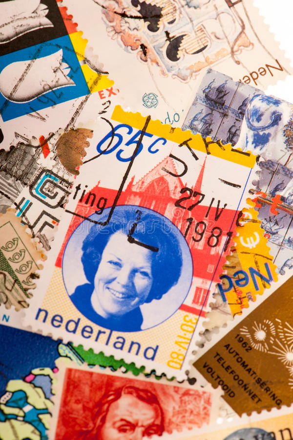 Download Dutch post stamps stock photo. Image of sending, king - 33160750