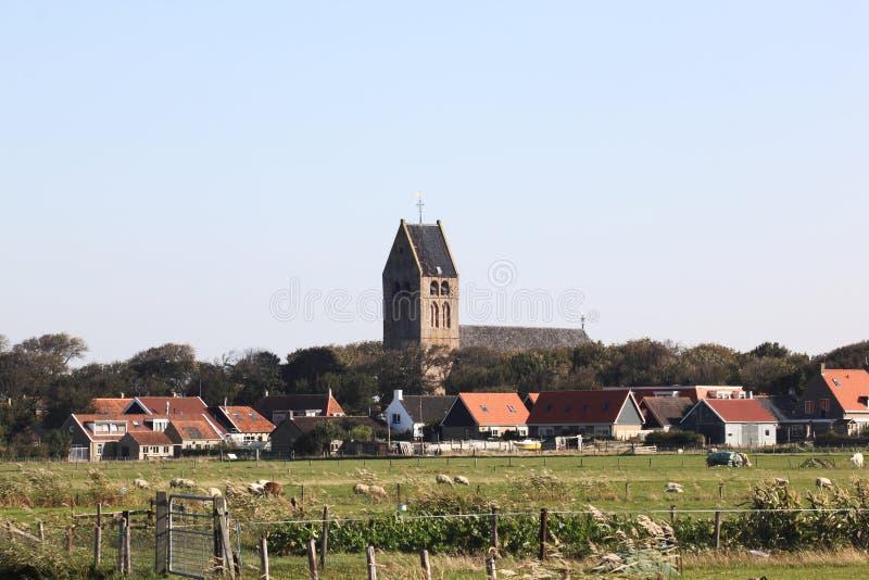Dutch Reformed church of Hollum Ameland, Holland stock photo