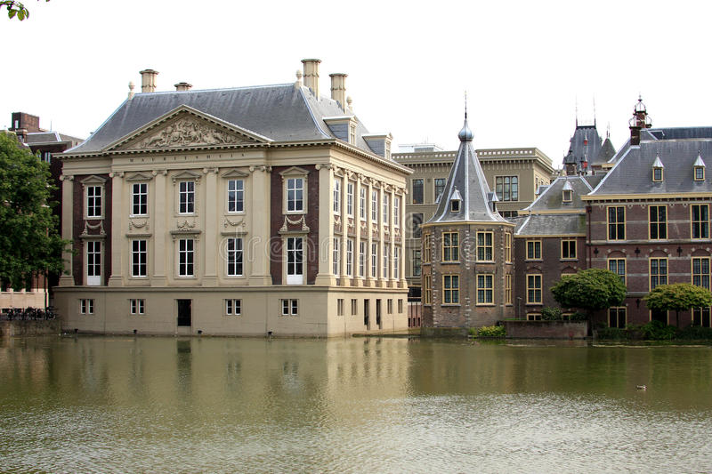 Dutch Royal Picture Gallery Mauritshuis and Tower stock images