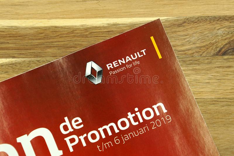 Dutch sale flyer of French car manufacturer Renault. Amsterdam, the Netherlands - December 16, 2018: Dutch sale flyer or advertising brochure, of French car royalty free stock image