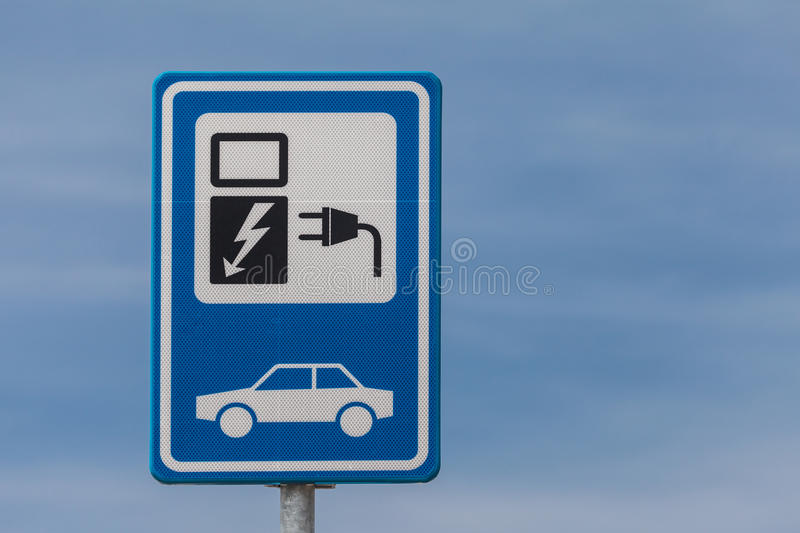 Dutch sign for charging an electric vehicle stock image