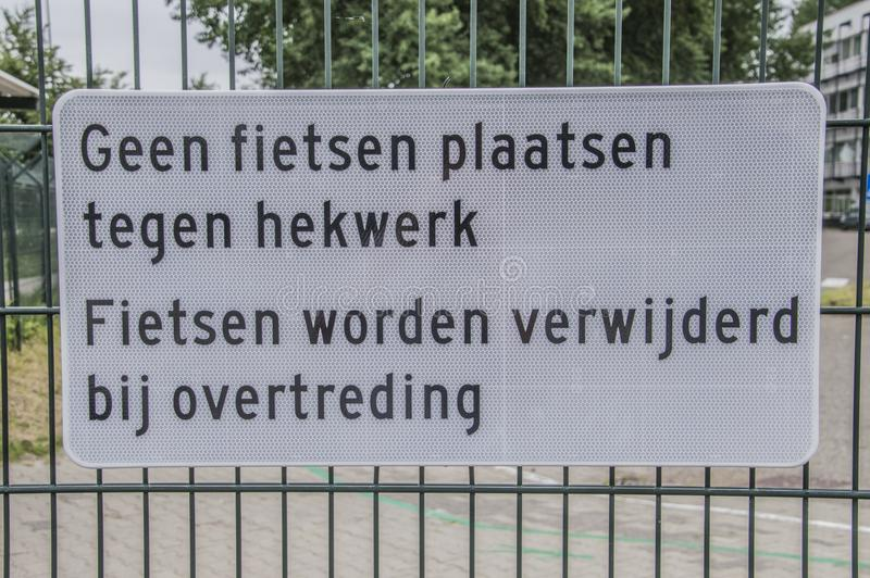 Dutch Sign No Bicycles Placing At Amsterdam The Netherlands 2018 stock photography