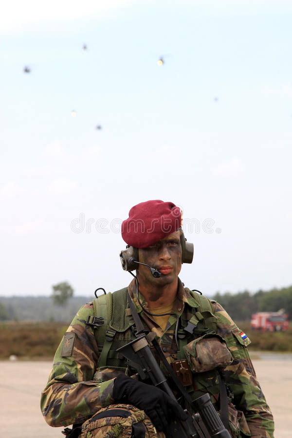 Dutch soldier with red beret stock photo
