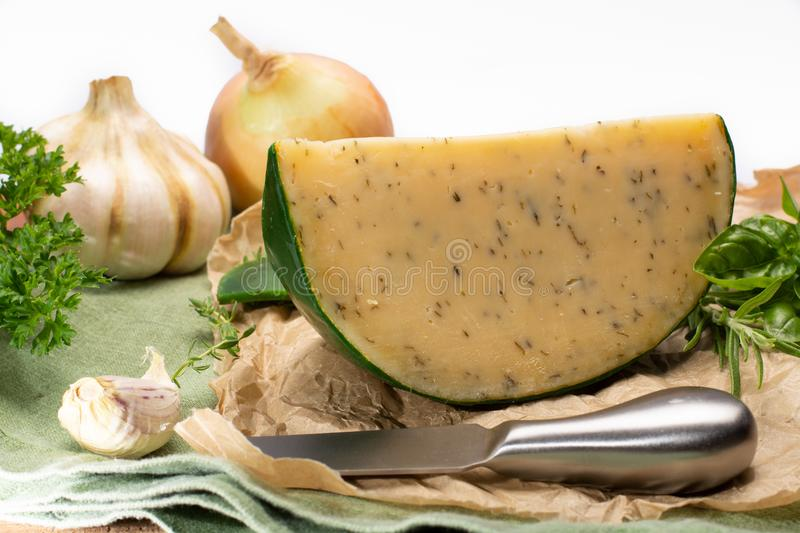 Dutch specialty hard cheese made from cows milk with different s stock photo