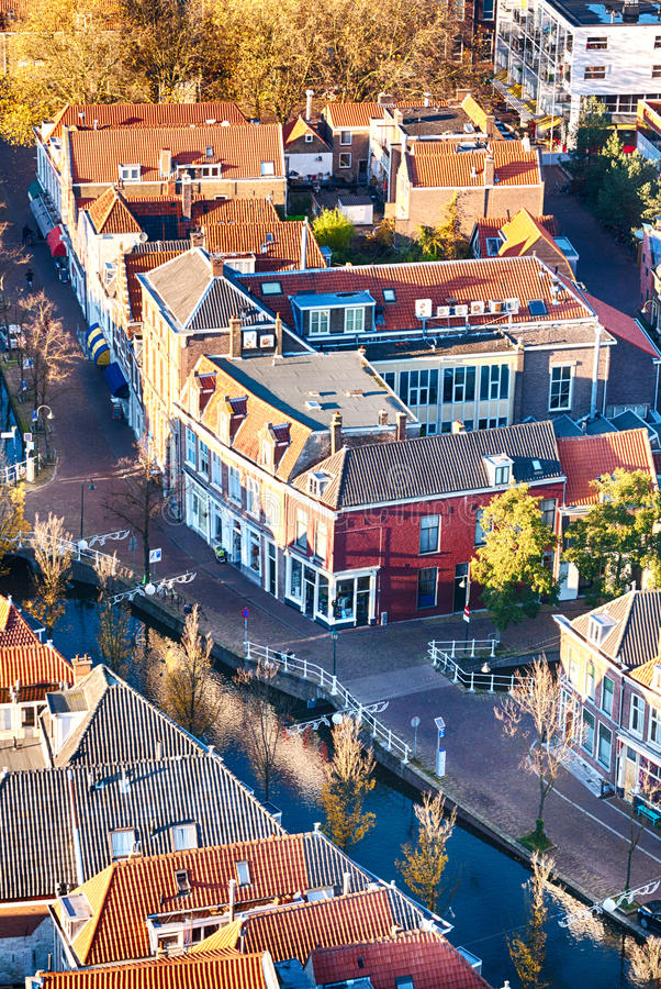Dutch street with a water canal royalty free stock image