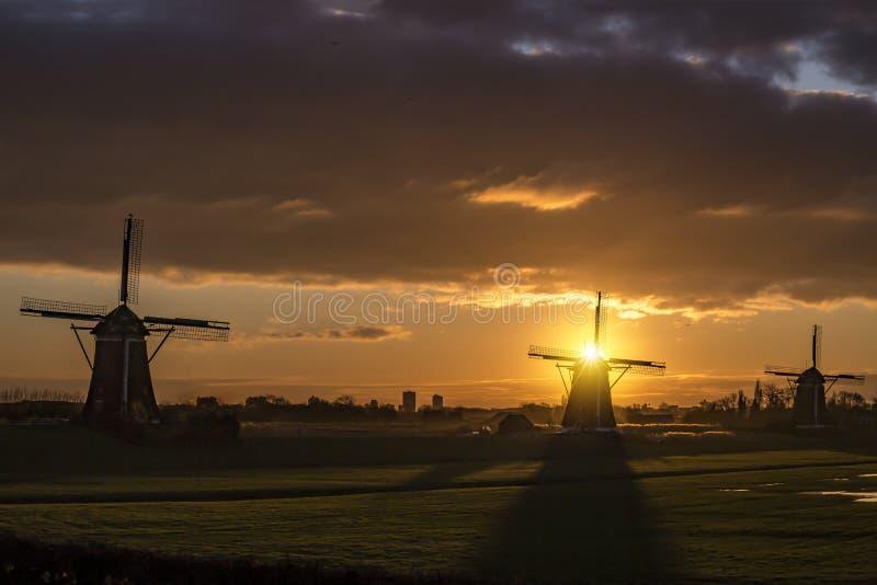 Dutch sunrise on the heritage stock photo