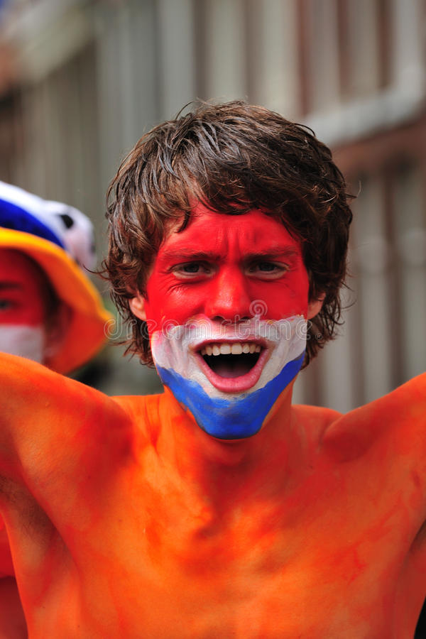 Dutch supporter. Party for the Dutch football team in Amsterdam in Holland royalty free stock images