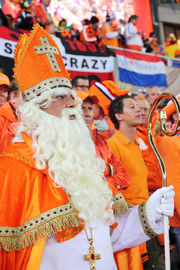 Dutch supporters watching the final match. JOHANNESBURG - JULY 11 : Final at Soccer City Stadium: Spain vs. Netherlands on July 11, 2010 in Johannesburg. Dutch stock photo