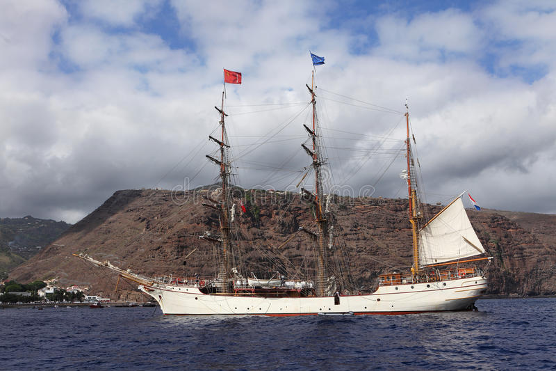 Dutch tall ship Bark Europa at St Helena Island royalty free stock images