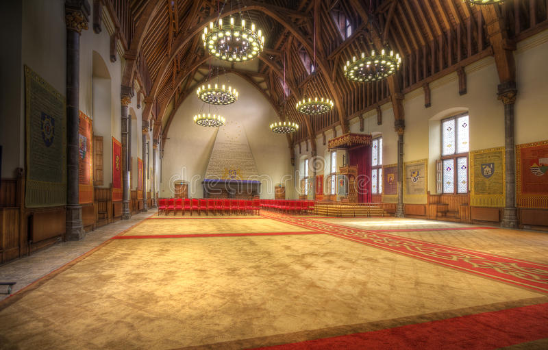 Dutch throne room. Throne of King Willem Alexander of the Netherlands in the Ridderzaal in The Hague, Holland royalty free stock photography