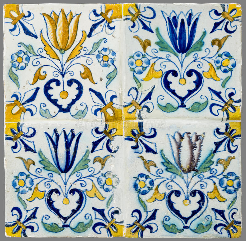 Dutch tile from the 16th to the 18th century. Old Dutch tile from the 16th to the 18th century stock photos