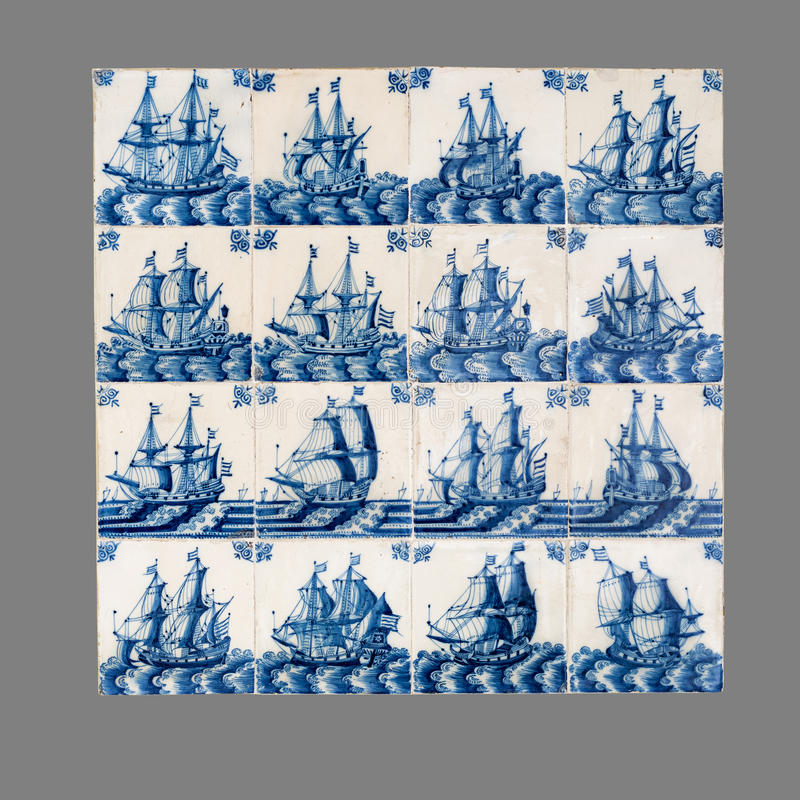 Dutch tile from the 16th to the 18th century stock images