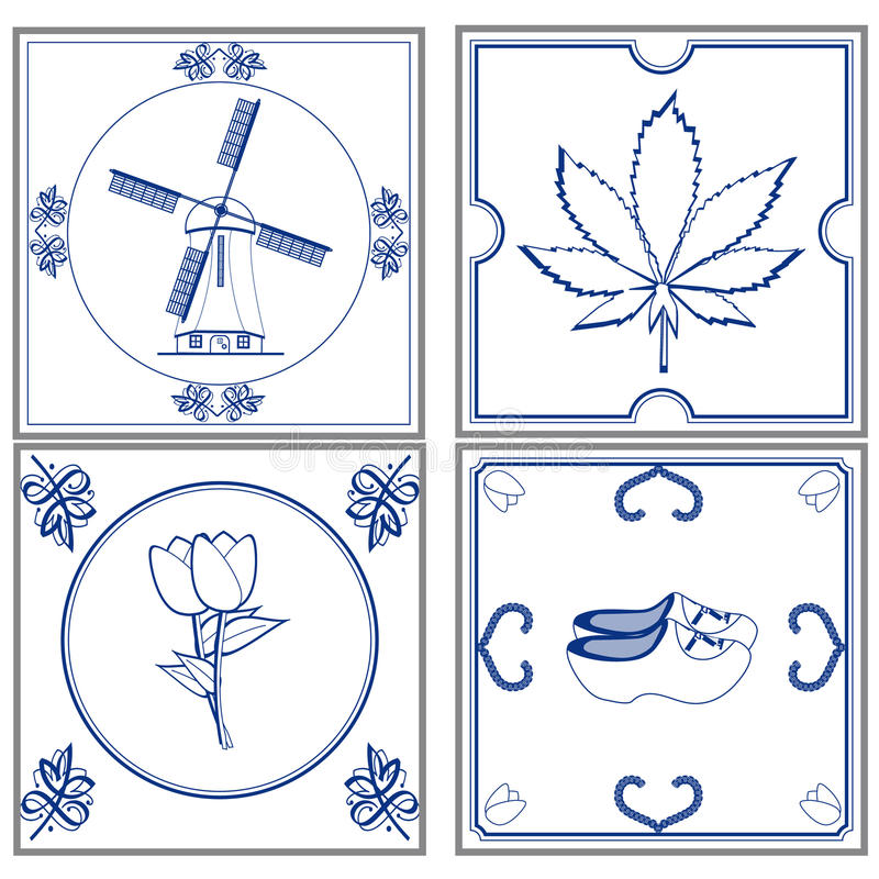Dutch tiles. Set of old fashioned dutch tiles royalty free illustration