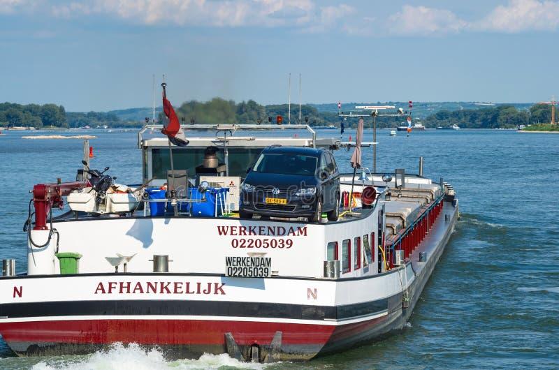 Dutch towboat on the Rhine river. Ruedesheim am Rhein, Germany - August 1st 2016. stock image