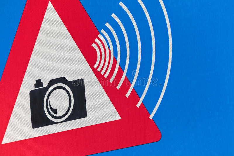 Dutch traffic sign with speed camera warning. Detail of a Dutch traffic sign with speed camera warning royalty free stock photos