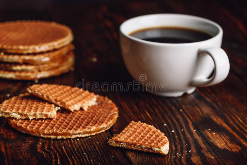 Dutch Waffles with Coffee. stock image