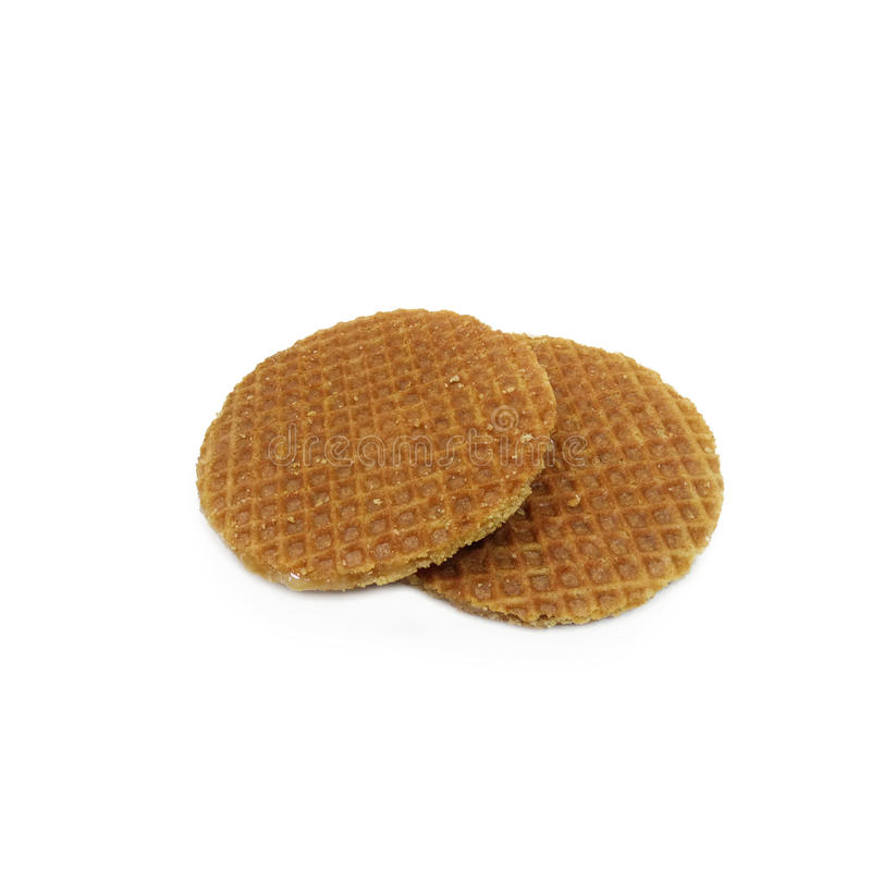 Dutch Waffles isolated on white background royalty free stock photography