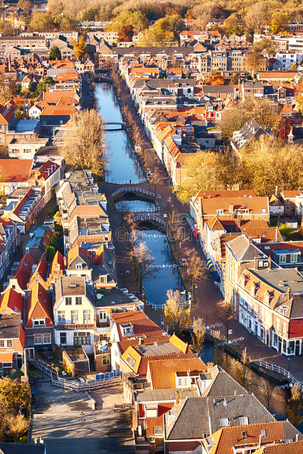 A Dutch water canal with houses stock photo