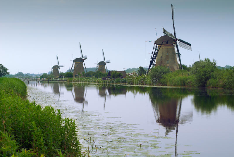Download Dutch windmills stock photo. Image of green, canal, generator - 14858142