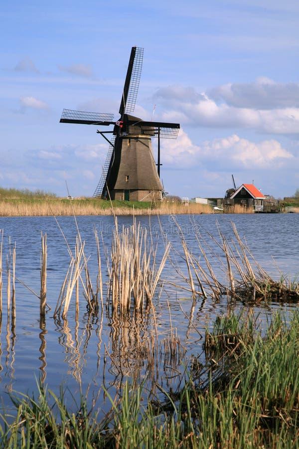 Dutch windmills. Traditional Dutch pumps - old windmills in Kinderdijk stock image