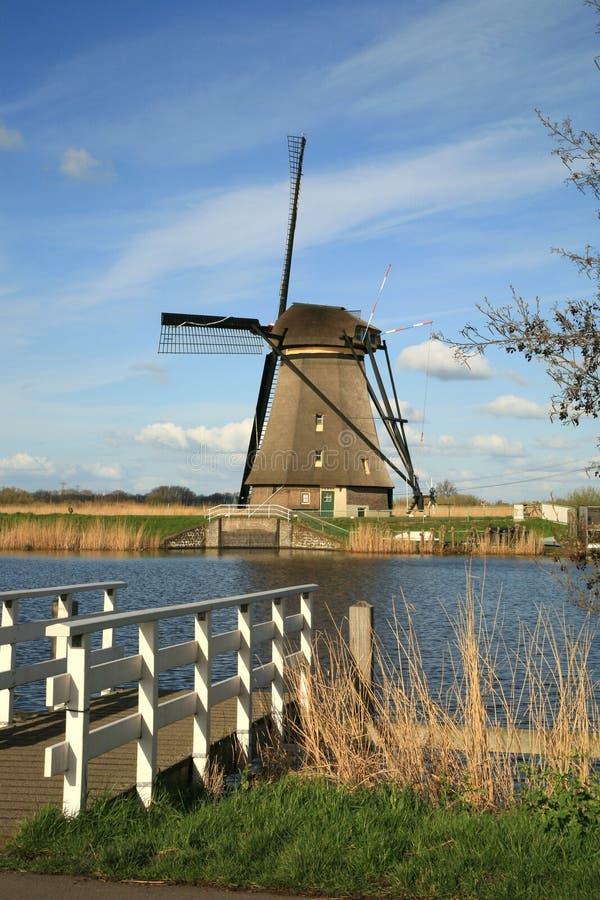Dutch windmills. Traditional Dutch pumps - old windmills in Kinderdijk stock images