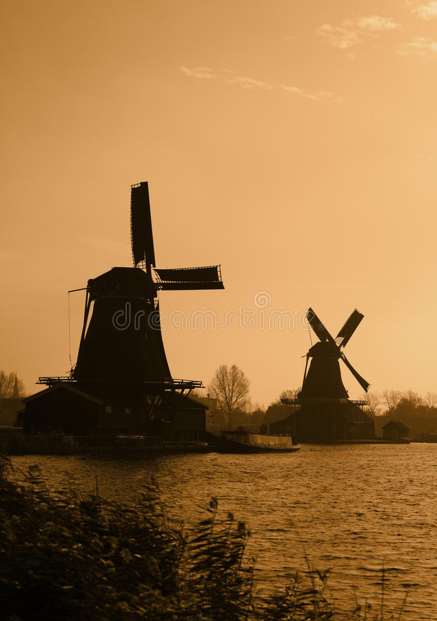 Download Dutch Windmills Silhouettes Stock Photo - Image: 23140874