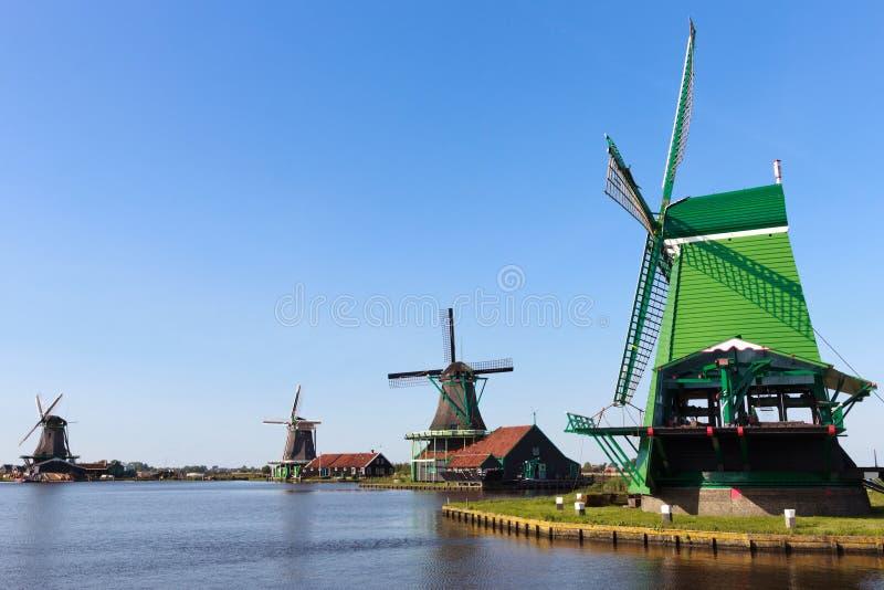 Dutch windmills. In Zaanse Schans, Noord-Holland stock images