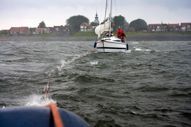 Dutch yacht in misery stock photo