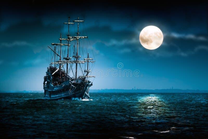 dutchman latania księżyc żeglowania statek ilustracja wektor