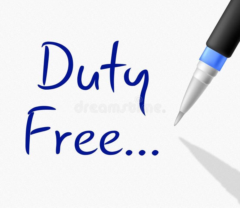 Duty free δεν δείχνει κανέναν κόστος και φόρο ελεύθερη απεικόνιση δικαιώματος
