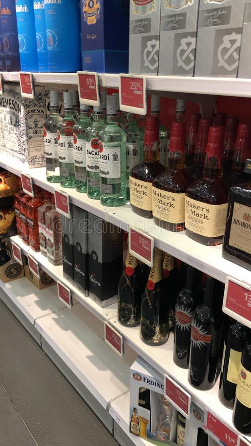 Duty free booze stock photos